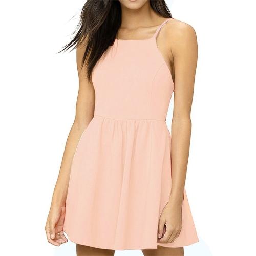 Nuevas mujeres atractivas Mini Slip Dress Backless correa de espagueti sólido Floral delgado acanalado fiesta Skater vestido
