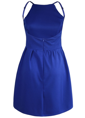 New Sexy Women Mini Slip Dress Backless Spaghetti Strap Solid Floral Slim Ruffed Party Skater Dress
