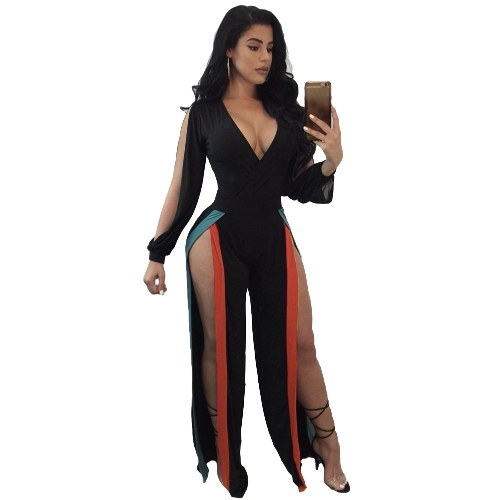 Sexy Women Jumpsuit Stretchy Deep V Neck Colorful Stripes Split Cut Out Long Sleeve Bodycon Clubwear
