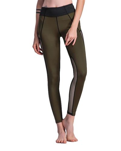 Sexy Frauen Sport Leggings Mesh Insert Spleißen Hohe Taille Dünne Lässig Gym Yoga Hosen Dunkelgrün