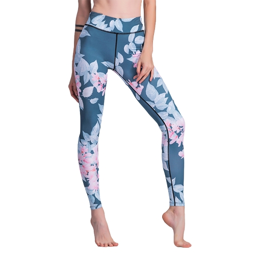 Leggings de deporte de mujer Contraste Floral Leaves Print Cintura alta Casual Fitness de entrenamiento flaco Blue