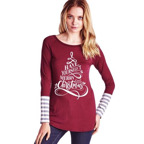 Mujeres Navidad Camiseta Letra Imprimir O-Cuello de Manga Larga Rayas Camisas Pullover Casual Tee Tops