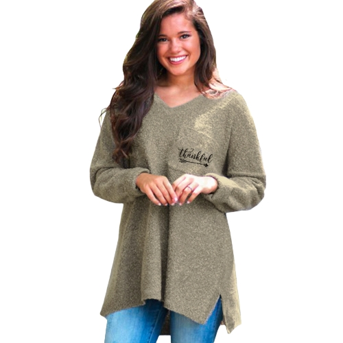 Women Sexy Warm Sweatshirt Fleece Chest Pocket V Neck Long Sleeve Loose Casual Pullover Top Grey/Army Green