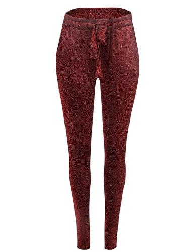 Moda Mulheres Calças compridas Metálico Sequined Elastic Waist Bandage Casual Slim Trousers
