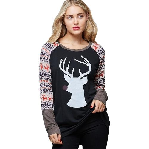 Herbst Frauen T-Shirt Weihnachten Rentier Print O-Neck Langarm Shirt Casual Tee Top Schwarz / Licht Kaffee / Weiß