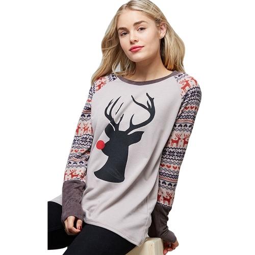 Camiseta de mujer otoño Camiseta de manga larga con cuello ovalado de reno de Navidad Camiseta de café casual / blanco / café claro