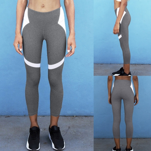Sexy Women Slim Leggings Sport Yoga Color Block Casual Fitness Skinny Pencil Pants Trousers