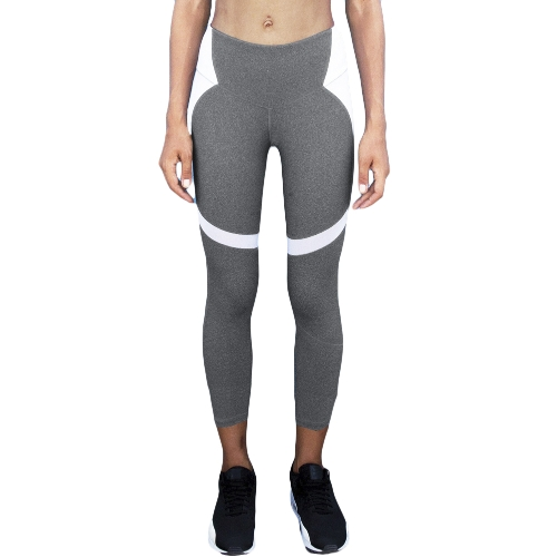 Sexy Women Slim Leggings Esporte Yoga Color Block Casual Fitness Skinny Pencil Calças Calças
