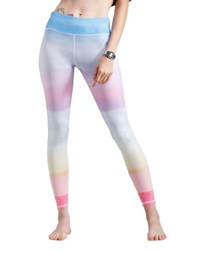 Mujeres Gym Leggings Colorful Gradient Rainbow Imprimir cintura alta Casual Skinny Sport Yoga pantalones azul