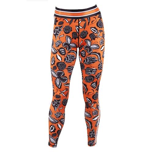 Pantalones de yoga para mujeres Pantalones de deporte polainas con estampado floral Pantalones de entrenamiento para correr Pantalones casuales flacos Amarillo
