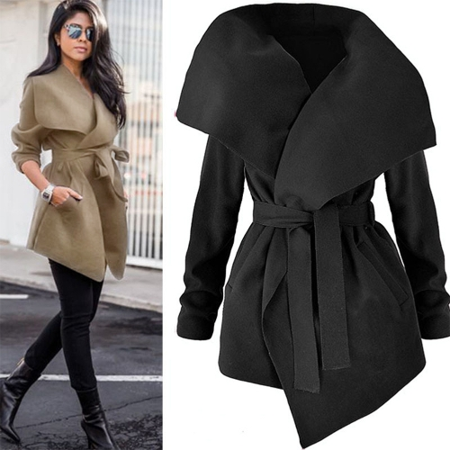 Herbst Winter Frauen Jacke Mantel Große Revers Solide Mantel Langarm Taschen Casual Oberbekleidung Schwarz / Grau / Khaki