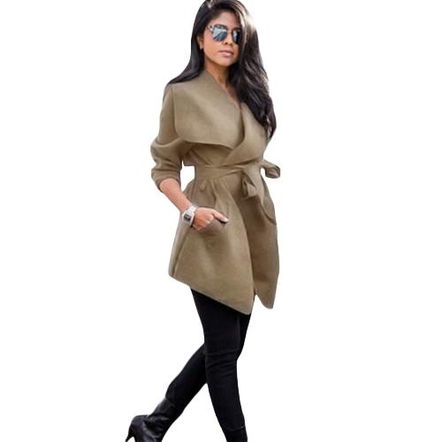 Abrigo de la chaqueta de las mujeres del otoño del invierno solapa grande abrigo sólido bolsillos de manga larga prendas de vestir exteriores ocasional negro / gris / de color caqui