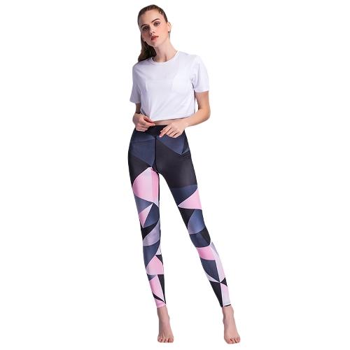 Pantalones de deporte de las mujeres Bloque de color de cintura alta Medias de running Gimnasio Entrenamiento de fitness Leotardos flacos Negro