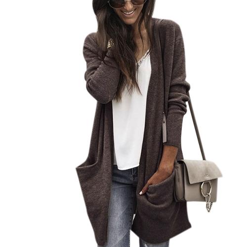 Moda otoño invierno mujeres sueltas cardigan cardigan suéter bolsillos delanteros de manga larga tejer abrigo ropa de abrigo café