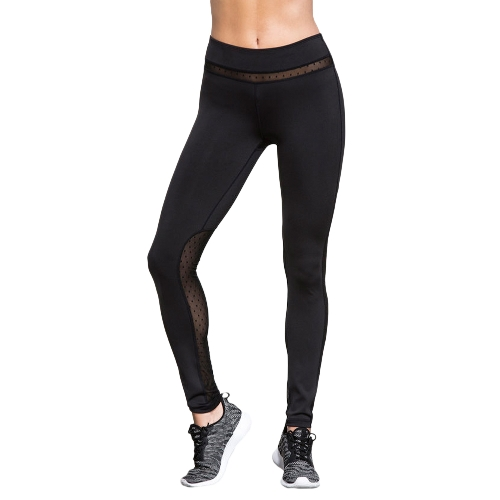 Mujeres Yoga Leggings Sports Tights Pantalones de cintura alta Malla Inserción Running Fitness Workout Pants Negro