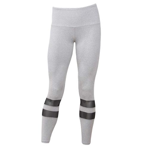 Pantalones de yoga de la aptitud de las mujeres Medias de malla de inserciones de malla de deporte Running Running pantalones casuales flacos negro / gris