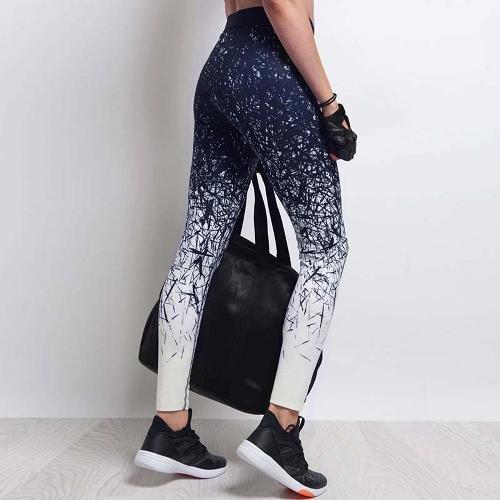 TOMTOP / Mulheres Fitness Calças de yoga Calções de esportes Calças de ganga impressas Corridas de exercícios magras Casual Calças azuis / azuis