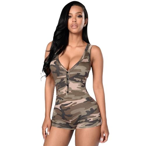 Camisola de camuflagem sem costura Mulheres sexy Camisola de pescoço com pescoço profundo Shorts Casual Macacão Vest Jumpsuit Rompers Army Green