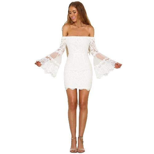 Las mujeres atractivas del cordón del vestido elegante del hombro Slash cuello manga flare delgada del vestido negro / blanco