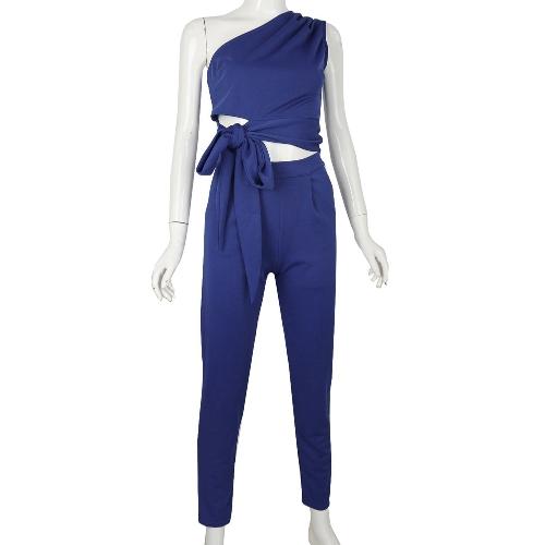 Sexy Women Two Piece Set One Shoulder Waist Strap Sleeveless Short Top High Waist Slim Long Pants White/Blue