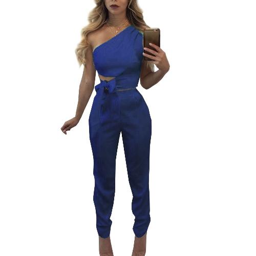 Conjunto de dos piezas de mujer sexy cintura de la cintura del hombro sin mangas Top corto de cintura alta delgado pantalones largos blanco / azul