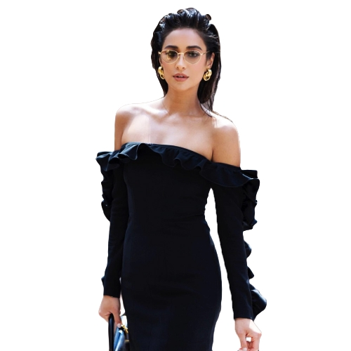 New Sexy Women Slash Neck Bodycon Mini Dress Off Shoulder Ruffle Long Sleeve Bandage Clubwear Party Dress Black