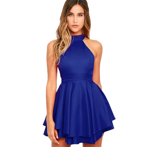 Sexy Women Skater Dress Halter Recorte Back High Neck Sleeveless Casual Party Mini vestido curto Branco / Azul
