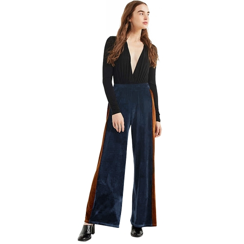 New Fashion Women Striped Velvet Wide Leg Pants Elastic High Cintura Long Loose Yoga Trousers Verde / Azul escuro