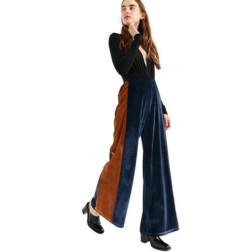 New Fashion Women Striped Velvet Wide Leg Pants Elastic High Waist Long Loose Yoga Trousers Green/Dark Blue