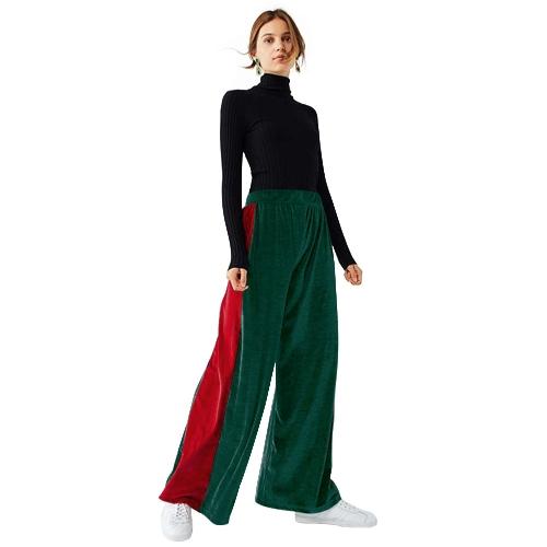 Las nuevas mujeres de la manera a rayas de terciopelo pantalones anchos de la pierna elástico de cintura alta largos sueltos pantalones de yoga verde / azul oscuro
