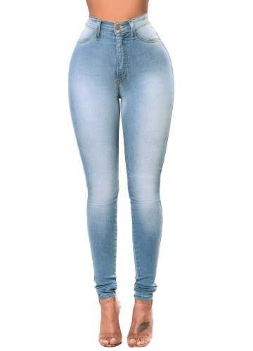 New Sexy Women Skinny Denim Jeans Classic High Waist Washed Slim Pants Rajstopy Ołówkowe Spodnie Dark Blue / Blue / Light Blue