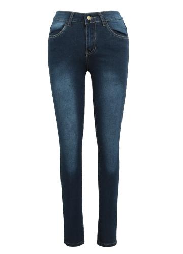 Новые сексуальные женские тощие джинсовые джинсы классической высокой талии вымытые тонкие брюки колготки карандаш брюки темно-синий / синий / светло-голубой фото
