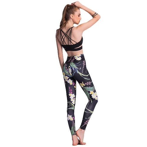 Sexy Women Slim Leggings Floral Print Sport Yoga Casual Fitness Skinny Pencil Pants Trousers