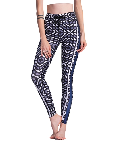 Sexy Women Slim Leggings Yoga Yoga Geométrica Print Casual Fitness Skinny Pencil Calças Calças