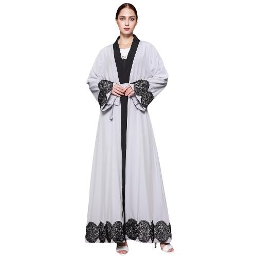 Mulheres muçulmanas Cardigan emendado Crochet Lace Hem Manga longa Islamic Abaya Maxi Dress Outwear