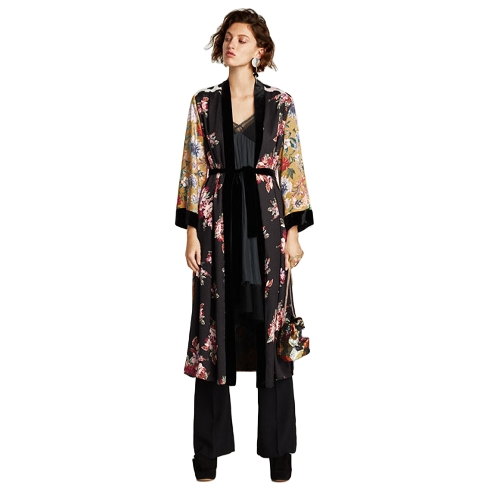 Women Flower Print Kimono Shirt Bandage Cardigan Blusa Top Cover Up Boho Long Loose Beach Robe com faixa Amarelo