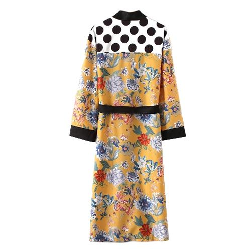 Frauen Blumendruck Kimono Shirt Bandage Cardigan Bluse Top vertuschen Boho lange lose Strandrobe mit Schärpe gelb