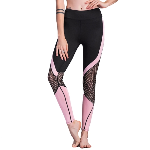 Mujeres Deporte Leggings Crochet Encaje Empalme Color Block Cintura alta Skinny Stretch Casual Gym Pantalones de Yoga Negro