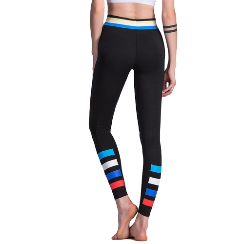 Women Sport Leggings Colorful Contrast Stripes Print High Waist Skinny Leg Casual Running Yoga Pants Black