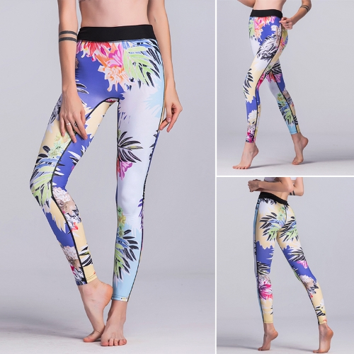 Women Gym Leggings Colorful Floral Print Mixed High Waist Skinny Casual Running Workout Fitness Pants Blue
