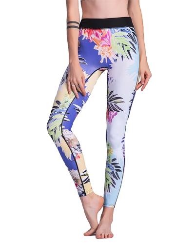 Mujeres Gym Leggings Colorful Floral Print Mixto de cintura alta Skinny Casual Running Fitness pantalones de entrenamiento azul