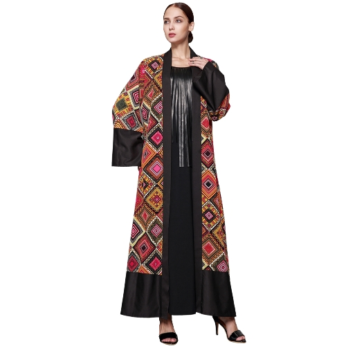 Women Muslim Robe Cardigan Imprimir Bell Mangas compridas Frente Aberta Belted Long Loose Abaya Dress Plus Size