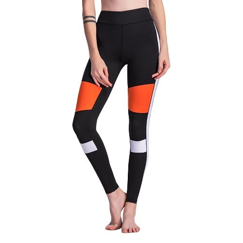 Frauen Fitness Yoga Hosen Sport Leggings Color Block Strumpfhosen Workout Running Skinny Casual Hosen Schwarz