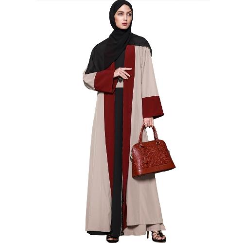 Cárdigan musulmán de las mujeres rebordeado empalmado manga larga islámica Abaya vestido maxi outwear con cinturón de color beige