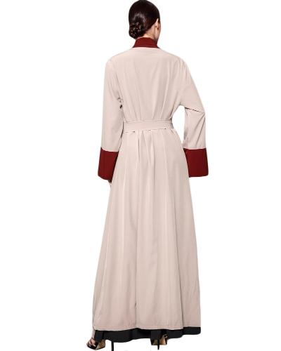 Frauen Muslimische Strickjacke Gespleißt Häkeln Langarm Islamischen Abaya Maxi Kleid Outwear Mit Gürtel Beige