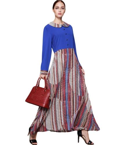 Women Muslim Splicing Dress Manga comprida Key-hole Long Loose Minddle Easy Abaya Robe Blue