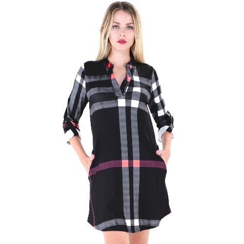 Mode Frauen Kariertes Hemd Kleid Roll Up Ärmel Knopf V-Ausschnitt Taschen Gebogen Saum Lässige Minikleid Shift Kleid