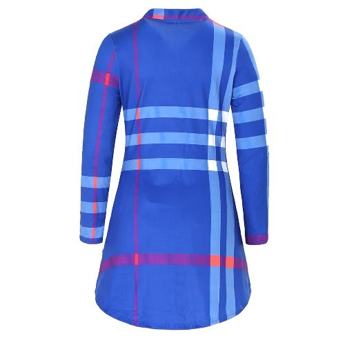 TOMTOP / Moda Mulheres Vestido com manta de mangas para cima Botas com botões de pescoço curvado Hem Vestido casual para vestir com mini vestido