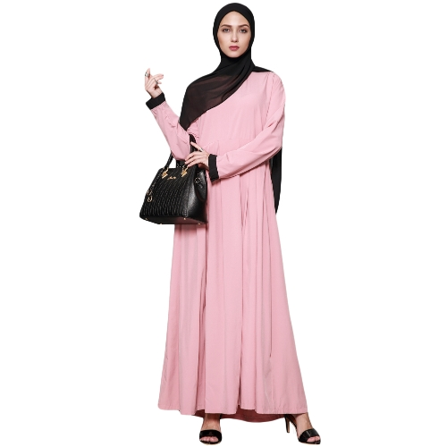 Vestido musulmán Maxi largo de las mujeres volantes O-cuello de manga larga islámica Abaya vestidos elegantes femeninos