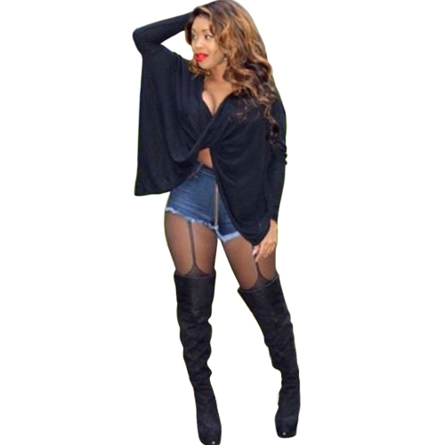Mujeres atractivas torciendo tops manga murciélago camiseta suelta de gran tamaño camisón de noche camisa de batwing blusa básica negro